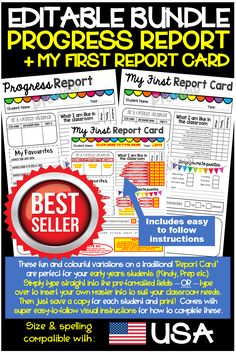 This best selling Report Card/Progress Report EDITABLE resource for Teachers and Educators to comple Parents As Teachers, Teacher Pay Teachers, Teacher Resources, Teacher Tools, School Resources, Classroom Resources, Classroom Ideas, Progress Report Template, Report Card Template