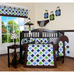 @Overstock.com - Blue Brown Diamond 13-piece Crib Bedding Set - Make your baby's room bright and fun with this pretty machine-washable 13-piece crib bedding set. This set is crafted from an easy-care blend of polyester and cotton and comes with everything needed to decorate your nursery in style.  http://www.overstock.com/Baby/Blue-Brown-Diamond-13-piece-Crib-Bedding-Set/7622990/product.html?CID=214117 $114.49