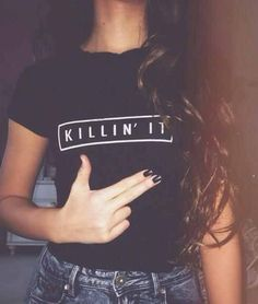 Get+comfy+in+this+fun+printed+text+tshirt!  Features+the+text+-+killin+it  Black+tshirt  Screen+printed!  Handmade+