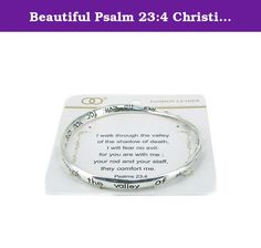 Beautiful Psalm 23:4 Christian Silver Tone Bangle Bracelet. Mom, Daughter, Sister, Best Friend, Grandma, Inspirational, Girl, Woman, Pandora Style, Morano Beads, Magentic, Stretch, Lobster Clasp, Bangle, Cuff, Bangle, Cute, Girl, Breast Cancer, Animal, Garden, Sea Life, Christian, Family Theme, Pink is the color of Strength, The ribbon is a symbol of Hope, Together it is a sign of Victory. School Teacher, Animal, Garden, Salt Life, Dolphin, Whale, Sand Dollar, Anchor, Sailing, Boat/Ship...