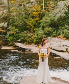 lovely bride by the river