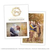 Christmas Card Photoshop Template | Christmas Wreath