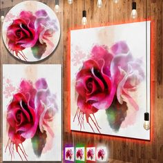 awesome Designart 'White Red Roses with Color Splashes' Floral Metal Wall Art Check more at http://hasiera.co.uk/s/furnishings/product/designart-white-red-roses-with-color-splashes-floral-metal-wall-art/