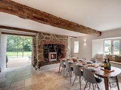 Dining Room with Old Oak Floor Beam in Ceiling Detail