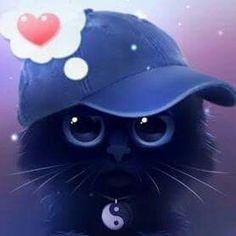 Cute Kawaii Animals, Cute Animal Drawings Kawaii, Cute Cat Drawing, Cute Little Animals, Cute Drawings, Cute Cat Memes, Black Cat Art, Anime Cat, Cute Cats And Dogs