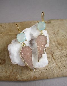 Sand Druzy Earrings Druzy Quartz Angel Wings Sea by julianneblumlo, $188.00