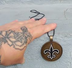 fleur de lis necklace black and gold by Tat2Tina on Etsy, $25.00
