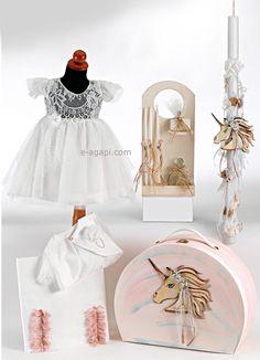 Unicorn Greek baptism set baby girl baptism Candle Dress Hat box Ladopana Handmade orthodox baptism set baptismal thematic baptism Nouna by eAGAPIcom on Etsy