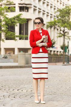 stripe knit dress X the red blazer - red reticule