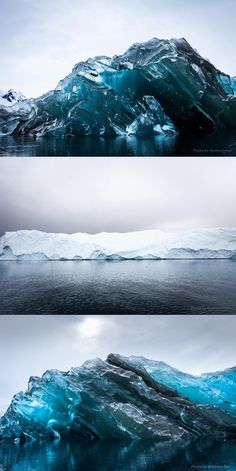 An overturned iceberg with amazing coloration in Antarctica's Cierva Cove.