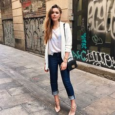 #blazer Pin for Later: 28 Outfits That'll Make You Reach For Blue Jeans and a White Tee Dress Up With Neutrals Like a Structured Blazer and Dressy Pumps