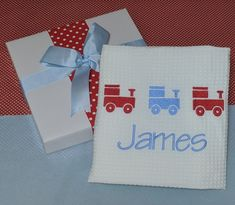 James, a great name passed through the generations and still very popular. Embroidered train and personalised cotton waffle baby cot blanket. Personalized Baby Blankets, Personalized Baby Gifts, Keepsake Baby Gifts, Cot Blankets, Baby Bibs, Baby Names, Waffle, Train, Popular