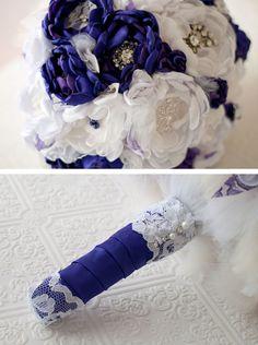 Custom Fabric Bridal Bouquet, choose your #wedding colors, #bride / #bridesmaids, rhinestone brooches