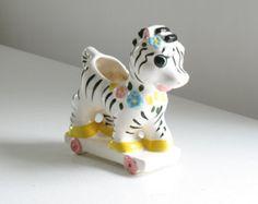 Vintage Zebra Ceramic Planter / Retro mid century 1950s 1960s nursery baby room decor animal circus figurine