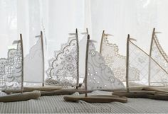 """EIGHT 8"""" to 9"""" Driftwood Beach Decor Sailboats Antique Lace and Linen Sails Bohemian Inspired Romance for Beachside Lakeside Wedding Decor"""
