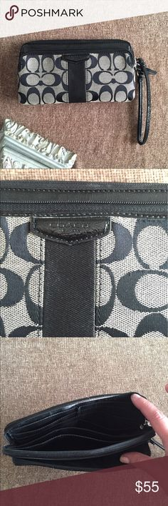 Coach double zip wallet wristlet EUC holds iPhone Excellent used condition very durable and lightweight double zip wallet. 6 card slots and 3 slip pockets in one compartment. Second zipped compartment in front for coins or your  iPhone6. Wristlet strap can be attached to ring inside your bigger tote for easy access then worn as a wristlet. Perfect for use in your work tote or laptop bag. Coach signature Canvas with black patent leather trim. Coach Bags Wallets