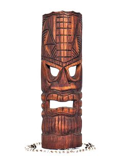 Here is a hand carved Tiki mask with a beautiful antique finish. This Lono mask - Tiki of Love but also learning was hand carved with great attention to details (ready to hang! Measurement: by 6 Palm Frond Art, Tiki Head, Tiki Totem, Tiki Mask, Vintage Tiki, Surfboard Art, Hawaiian Tattoo, Maori Art, Got Wood