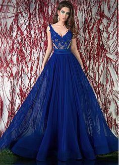 Buy discount Charming Tulle & Chiffon V-neck Neckline Floor-length A-line Prom Dress at Dressilyme.com