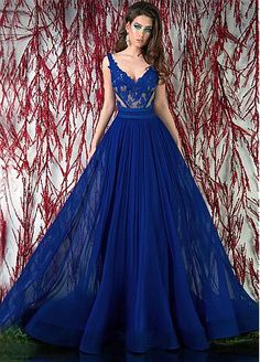 Buy discount Charming Tulle & Chiffon V-neck Neckline Floor-length A-line Prom Dress at Dressilyme.com