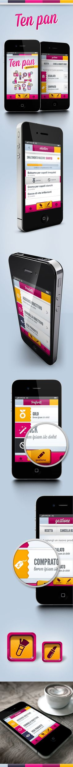 Ten Pan App - Mobile ui for Ten Pan Project by Gaia Zuccaro, via Behance