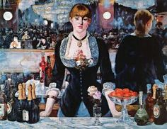 A Bar at the Folies-Bergere [Manet]. Years ago, I dreamed I was the man in the hat & bartender was someone from my past...