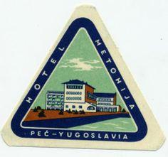 Hotel Metohija PEC Jugoslavia Great ART Deco Luggage Label | eBay