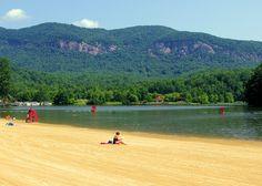 Lake Lure beach in the North Carolina mountains near Asheville