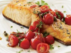 Pan-Roasted Salmon with Tomato Vinaigrette. Made this and it was quite easy and amazingly flavorful. Swapped in red onion because we didn't have a shallot. - OAP