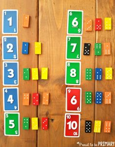 matching number cards with dominoes for building number sense to 20