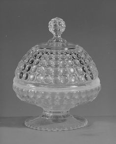 ca. 1888 Pressed Colorless and Opalescent Glass Butter Dish, Richards and Hartly Flint Glass Co. (ca. 1870-90), Tarentum,
