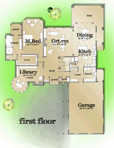 First Floor Plan of European   French Country   Tudor   House Plan 42820
