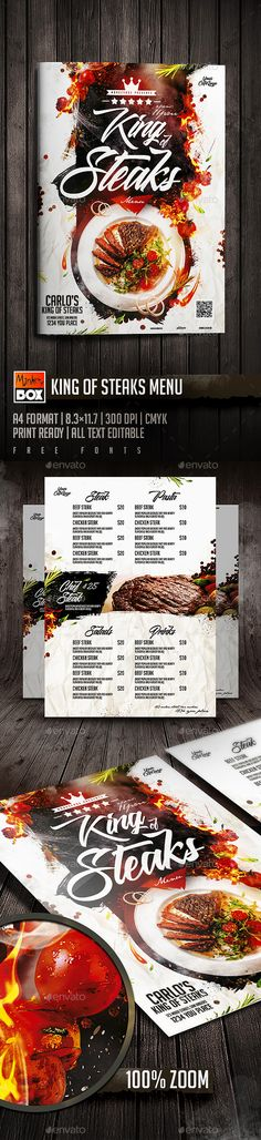King Of Steaks Menu Template PSD