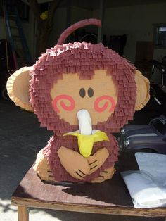 Changuito♥♥ Monkey Centerpiece, Pinata Party, Happy Birthday, Birthday Parties, Jungle Party, Mexican Party, Ideas Para Fiestas, Beach Party, Paper Mache