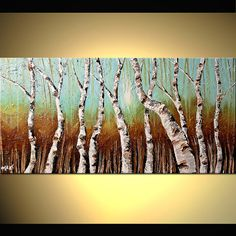 ORIGINAL Abstract Silver Birch Tree Painting Palette Knife on Canvas by  Osnat Tzadok 48