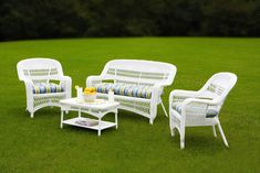 White Wicker Resin Patio Furniture Set w/ Caribbean Cushions White Wicker Patio Furniture, Resin Patio Furniture, Porch Furniture, Garden Furniture, Furniture Usa, Furniture Online, Furniture Stores, Luxury Furniture, Outdoor Sofa Sets