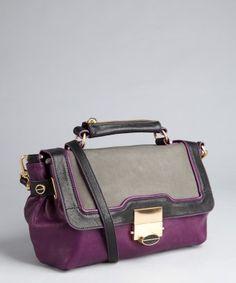 Treesje : violet colorblock leather 'Jackson' shoulder bag : style # 320148602
