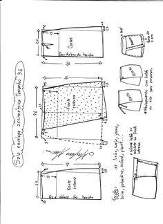 Esquema de modelagem de saia envelope assimétrica tamanho 36.