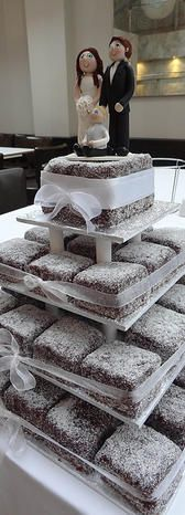Lamington Tier Wedding Cake - yes but with Pink Lamingtons