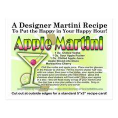 Shop Apple Martini (Appletini) Recipe Postcard created by TheMartiniDiva. Vodka And Apple Juice, Sour Apple Pucker, Martini Recipes, Alcohol Drink Recipes, Apple Theme Parties, Bar Drinks, Alcoholic Drinks, Appletini Recipe, Martini Mix