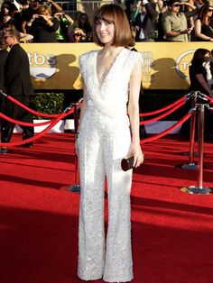 Rose Byrne jumped into red carpet worthy fashion in this beaded Elie Saab jumpsuit. File under AWESOME.