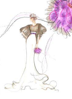 abito da sposa a sirena in organza di seta - Mariana Cino   #marianacino #fashionillustration #bride #sposa #sirena #organza #abito #turtledovecolor #white #glamour