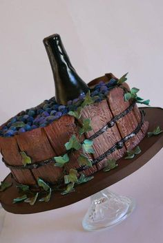 Barrel and Wine Themed Cake (fun tiered cakes) Wine Theme Cakes, Extreme Cakes, Barrel Cake, Bottle Cake, Different Cakes, Fancy Cakes, Cake Creations, Creative Cakes, Fondant Cakes