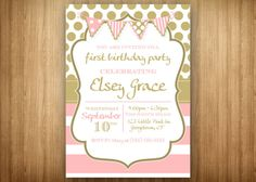 Pink and Gold Birthday Invitation Party 1st by 3littlebirdsprints