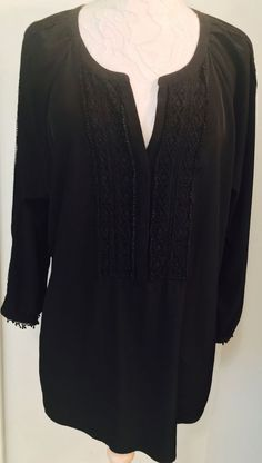 CHICOS Size 3 (XL) Black Tunic with black trim Summer chic Top Chico's #Chicos #Tunic