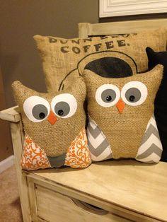 Owl pillow, burlap owl pillow, owl, gray chevron, chevron, owl,