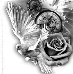 Engel - tattoo designs ideas männer männer ideen old school quotes sketches Engel Tattoos, Dove Tattoos, Kunst Tattoos, Bild Tattoos, Body Art Tattoos, Celtic Tattoos, Dove Tattoo Design, Clock Tattoo Design, Tattoo Design Drawings