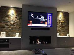 35 Amazing Wall TV Cabinet Designs for Cozy Family Room. 35 Amazing Wall TV Cabinet Designs for Cozy Family Room – Whether you live in a spacious house or live in a small apartment, the living room is a place where you can relax with your family, e… Wall Units With Fireplace, Living Room With Fireplace, New Living Room, Fireplace Design, Living Room Decor, Fireplace Ideas, Tv Fireplace, Small Living, Linear Fireplace