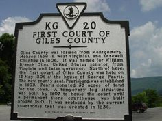 pearisburg, giles county, virginia history | First Court of Giles County - Virginia Historical Markers on ...