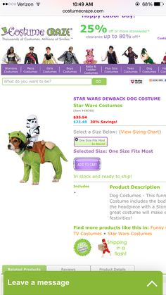 Must have Star Wars dog costume!!