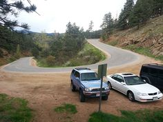 Parking for the Lion's Lair Trail along Sunshine Canyon. This is 1.8 miles from the intersection of 4th and Mapleton.